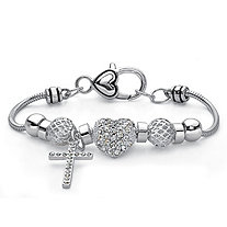 Crystal Silvertone Cross and Heart Bali-Style Beaded Charm Bracelet 7""