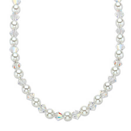 """Aurora Borealis Crystal and Simulated Pearl Silvertone Beaded Necklace Made With Swarovski Elements 20""""-22"""" (6.5mm) at PalmBeach Jewelry"""