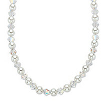 "Aurora Borealis Crystal and Simulated Pearl Silvertone Beaded Necklace Made With Swarovski Elements 20""-22"" (6.5mm)"