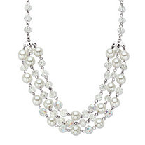 Aurora Borealis Crystal and Simulated Pearl Silvertone Triple-Strand Beaded Necklace 18