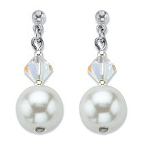 Simulated Pearl and Aurora Borealis Crystal Silvertone Drop Earrings MADE WITH SWAROVSKI ELEMENTS