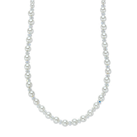 "Aurora Borealis Crystal and Simulated Pearl Beaded Necklace MADE WITH SWAROVSKI ELEMENTS 18""-20"" at PalmBeach Jewelry"