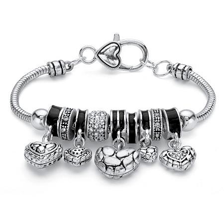 Black Crystal Antiqued Silvertone Bali-Style Beaded Heart Charm Bracelet 7