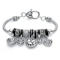 Black Crystal Antiqued Silvertone Bali-Style Beaded Heart Charm Bracelet 7""