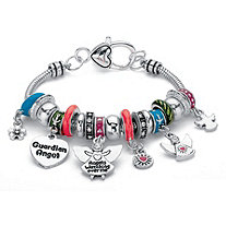 Multi-Color Crystal Antiqued Silvertone Bali-Style Guardian Angel Beaded Charm Bracelet 7