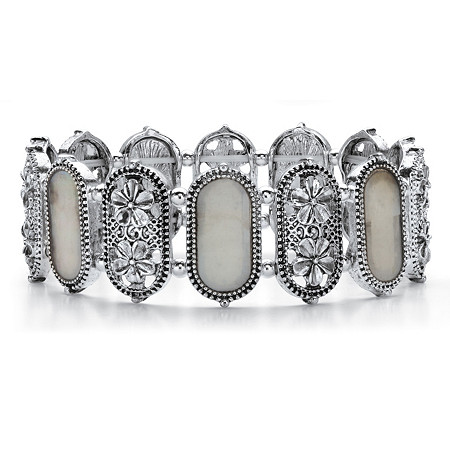 """Oval Simulated Mother-of-Pearl Antiqued Silvertone Daisy Stretch Bracelet 7"""" at PalmBeach Jewelry"""