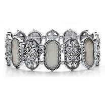 Oval Simulated Mother-of-Pearl Antiqued Silvertone Daisy Stretch Bracelet 7""