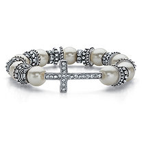 "Crystal and Simulated Pearl Antiqued Silvertone Horizontal Cross Stretch Bracelet 7"" (10 mm)"