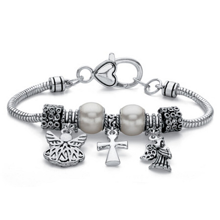 Simulated Pearl and Bead Silvertone Inspirational Angel Charm Bracelet 7