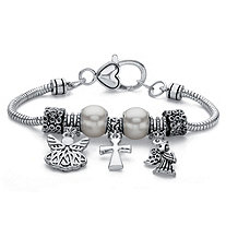 SETA JEWELRY Simulated Pearl and Bead Silvertone Inspirational Angel Charm Bracelet 7