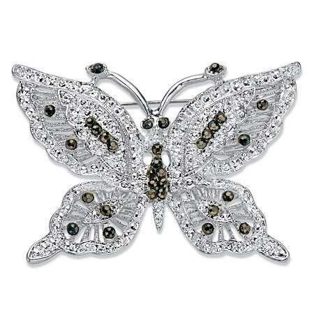 Black Crystal Silvertone Butterfly Pin at PalmBeach Jewelry