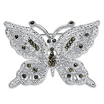 Black Crystal Silvertone Butterfly Pin