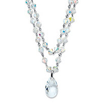 Pear-Cut Aurora Borealis Crystal Silvertone Beaded Pendant Necklace 18