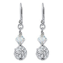Aurora Borealis Crystal Silvertone Beaded Ball Drop Leverback Earrings