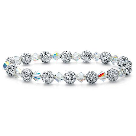 "Round Crystal Silvertone Ball and Bead Stretch Bracelet 7"" at PalmBeach Jewelry"