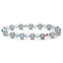 Round Aurora Borealis Crystal Beaded Stretch Bracelet in Silvertone 7