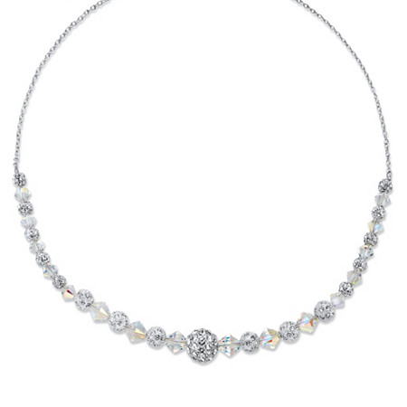 Round Crystal Silvertone Ball and Bead Necklace 18