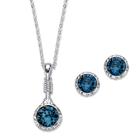 Round Bezel-Set Blue Crystal Hammered 2-Piece Stud Earring and Pendant Necklace Set in Silvertone 18