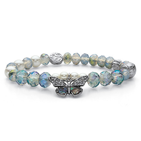 """Simulated Pearl and Blue Crystal Antiqued Silvertone Beaded Butterfly Charm Stretch Bracelet 7"""" at PalmBeach Jewelry"""