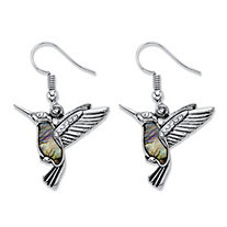 Crystal and Simulated Mother-of-Pearl Antiqued Silvertone Hummingbird Drop Earrings