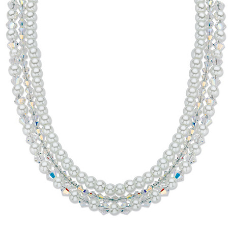 "Aurora Borealis Crystal and Simulated Pearl Silvertone Triple-Strand Necklace 16""-18"" at PalmBeach Jewelry"