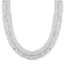 "Aurora Borealis Crystal and Simulated Pearl Silvertone Triple-Strand Necklace 16""-18"""