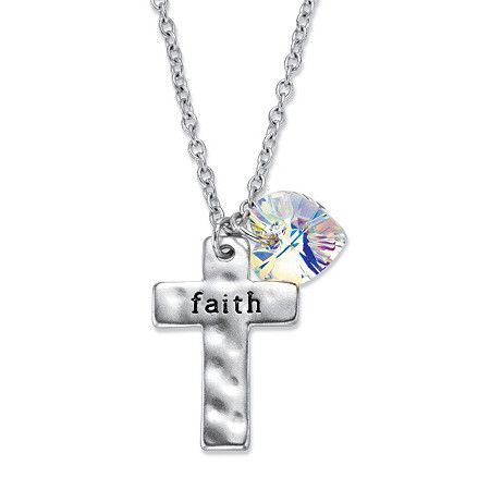 "Aurora Borealis Crystal Silvertone Heart Charm and ""Faith"" Cross Pendant Necklace 18""-20"" at PalmBeach Jewelry"