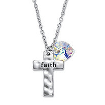 "Aurora Borealis Crystal Silvertone Heart Charm and ""Faith"" Cross Pendant Necklace 18""-20"""