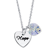 "Aurora Borealis Crystal Silvertone Heart Charm and ""Hope"" Heart Shaped Pendant Necklace 18""-20"""