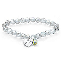 "Aurora Borealis Crystal Silvertone ""Mom"" Heart Charm Beaded Stretch Bracelet Made with Swarovski Elements 7"""