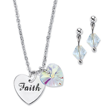 "Aurora Borealis Crystal Silvertone Heart and ""Faith"" Charm Earring and Necklace Set Made With Swarovski Elements 18""-20"" at PalmBeach Jewelry"