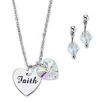 "Aurora Borealis Crystal Silvertone Heart and ""Faith"" Charm Earring and Necklace Set Made With Swarovski Elements 18""-20"""