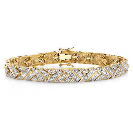 "Diamond Accent 18k Gold-Plated Two-Tone Basket Weave Bracelet 7.5"" at PalmBeach Jewelry"