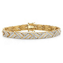 Diamond Accent 18k Gold-Plated Two-Tone Basket Weave Bracelet 7.5""