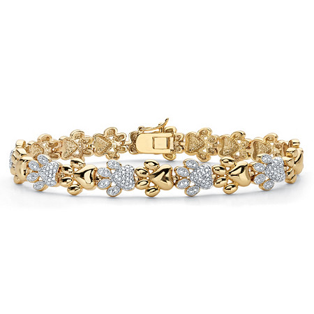 "Diamond Accent 18k Gold-Plated Two-Tone Paw Print Bracelet 7.5"" at PalmBeach Jewelry"