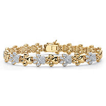 Diamond Accent 18k Gold-Plated Two-Tone Paw Print Bracelet 7.5""