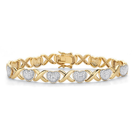 "Diamond Accent 18k Gold-Plated Two-Tone Hearts and Kisses Bracelet 7.5"" at PalmBeach Jewelry"