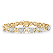 Diamond Accent 18k Gold-Plated Two-Tone Hearts and Kisses Bracelet 7.5""