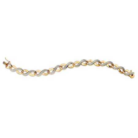Diamond Accent 18k Gold-Plated Two-Tone Infinity-Link Bracelet 7.5