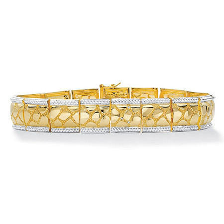 "Men's Diamond Accent 18k Gold-Plated Two-Tone Textured Bracelet 8.5"" at PalmBeach Jewelry"