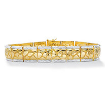 Men's Diamond Accent 18k Gold-Plated Two-Tone Textured Bracelet 8.5""