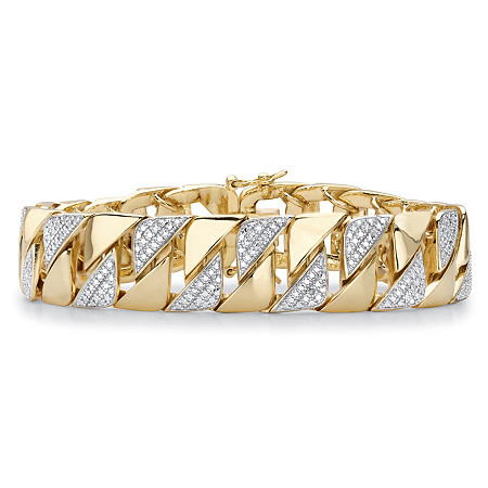 "Men's Diamond Accent 18k Gold-Plated Two-Tone Interlocking-Link Bracelet 8.5"" at PalmBeach Jewelry"