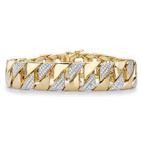 Men's Diamond Accent 18k Gold-Plated Two-Tone Curb-Link Bracelet 8.5""