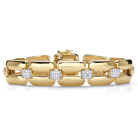 "Diamond Accent 18k Yellow Gold-Plated Two-Tone Fancy-Link Bracelet 7.5"" at PalmBeach Jewelry"
