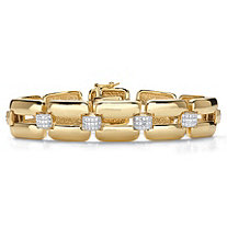 Diamond Accent 18k Yellow Gold-Plated Two-Tone Interlocking-Link Bracelet 7.5""