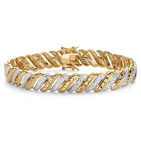 "Diamond-Cut Diamond Accent 18k Gold-Plated Two-Tone S-Link Bracelet 7.5"" at PalmBeach Jewelry"