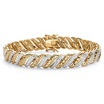 Diamond-Cut Diamond Accent 18k Gold-Plated Two-Tone S-Link Bracelet 7.5""