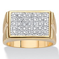 SETA JEWELRY Men's Diamond Accent 18k Gold-Plated Two-Tone Watchband-Style Grid Ring