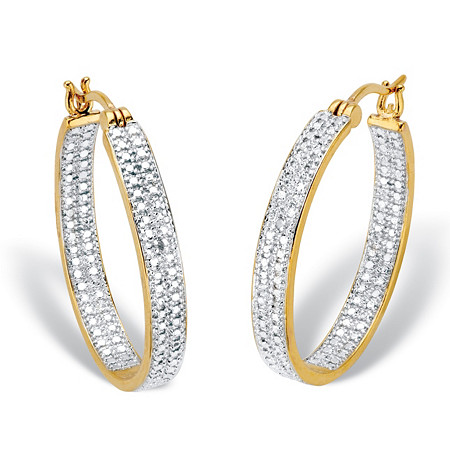 "Diamond Accent 18k Gold-Plated Two-Tone Inside-Out Hoop Earrings 1.25"" at PalmBeach Jewelry"