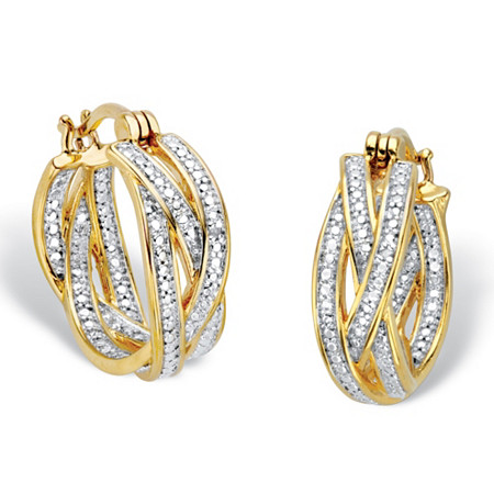 "Diamond Accent 18k Gold-Plated Two-Tone Braided Hoop Earrings 7/8"" at PalmBeach Jewelry"
